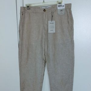 Nwt Denim & Co Stone Linen Crop Pants w Cuffs W33